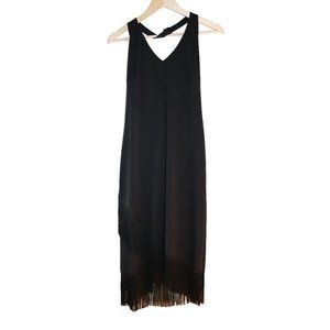 Lori Ann Vintage Black Halter Fringe Hem Dress